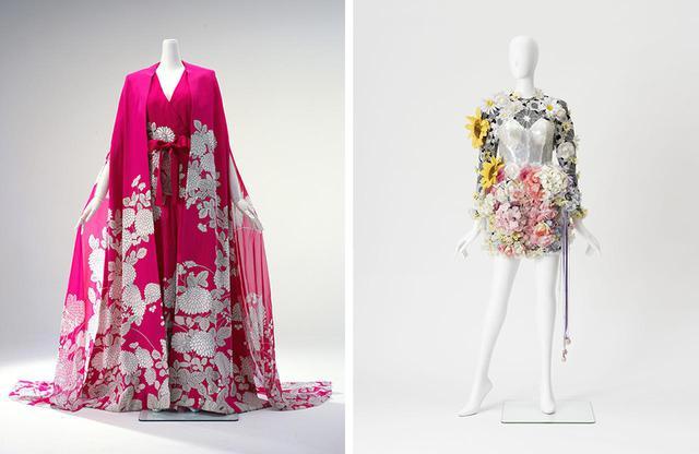 画像: (写真左)米版『VOGUE』で紹介され、森英恵の名を世界に広めた代表作。ジャンプスーツとカフタン「菊のパジャマ・ドレス」1966年 島根県立石見美術館 COURTESY OF IWAMI ART MUSEUM (写真右)中野裕通 ドレス 第36回NHK紅白歌合戦 小泉今日子衣装 なんてったってアイドル 1985年 COURTESY OF ARTIST