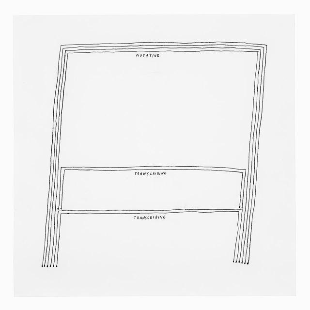 """画像: 《楽譜を書くこと、書き残すこと、書き残すこと》(2021年) この記事のために、ベルリン在住のアメリカ人アーティストでろう者のクリスティン・スン・キムが作品を描いてくれた CHRISTINE SUN KIM, """"NOTATING TRANSCRIBING TRANSCRIBING,"""" 2021, CHARCOAL ON PAPER. PHOTO BY STEFAN KORTE"""
