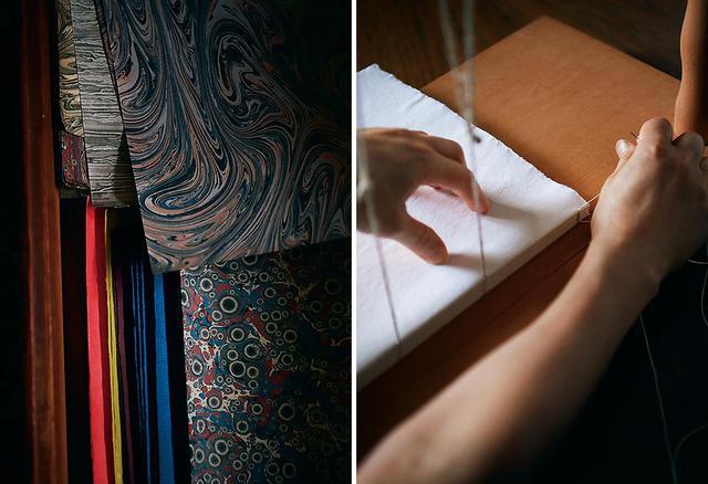 画像: (写真左)ヨーロッパの専門店で買い付けたマーブル紙やペーストペーパー。本の「見返し」、表紙やケースの装飾などに使う (写真右)折丁と呼ばれる、小冊子を一冊の本に綴じる「糸かがり」の作業を行う樋口。インドのコットン紙を使ったゲストブックを制作中