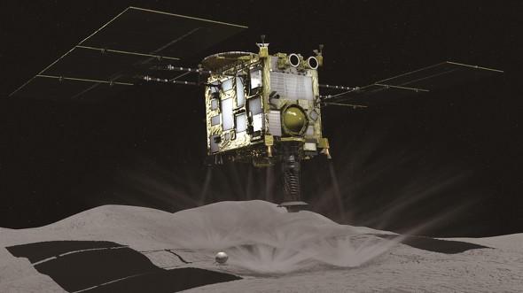 画像: 小惑星リュウグウにタッチダウンを行う「はやぶさ2」のイメージ図(JAXA提供)