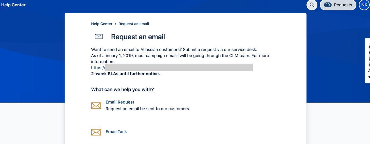 画像: Eメールをリクエストをするサービスデスクのトップページ