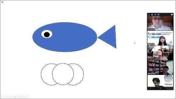 画像: 沢渡さんが描いた魚と丸の絵