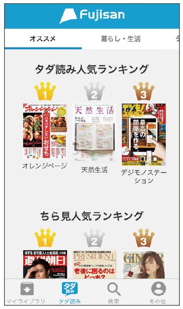 画像: ランキング機能を備えているので、人気の雑誌を一目で把握できる。おすすめ雑誌や必読記事の紹介コーナーもある。画面はiPhone。