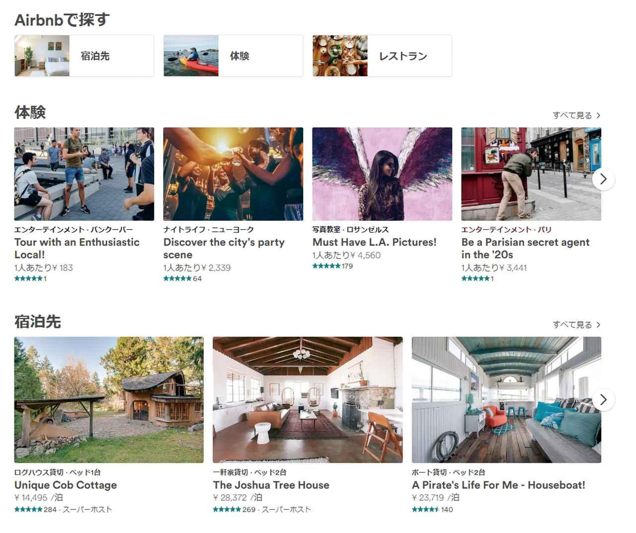 画像: 今日のシェアリングエコノミーブームの草分けともいわれる民泊の仲介サービス「Airbnb」( https://www.airbnb.jp/)。