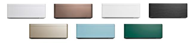 画像: 上段左からラインホワイト、グレイッシュブラウンメタリック、ファブリックホワイト、ブラックウッド、ツイルゴールド、ソライロ、フォレストグリーンと家電としては多彩過ぎる7色展開。