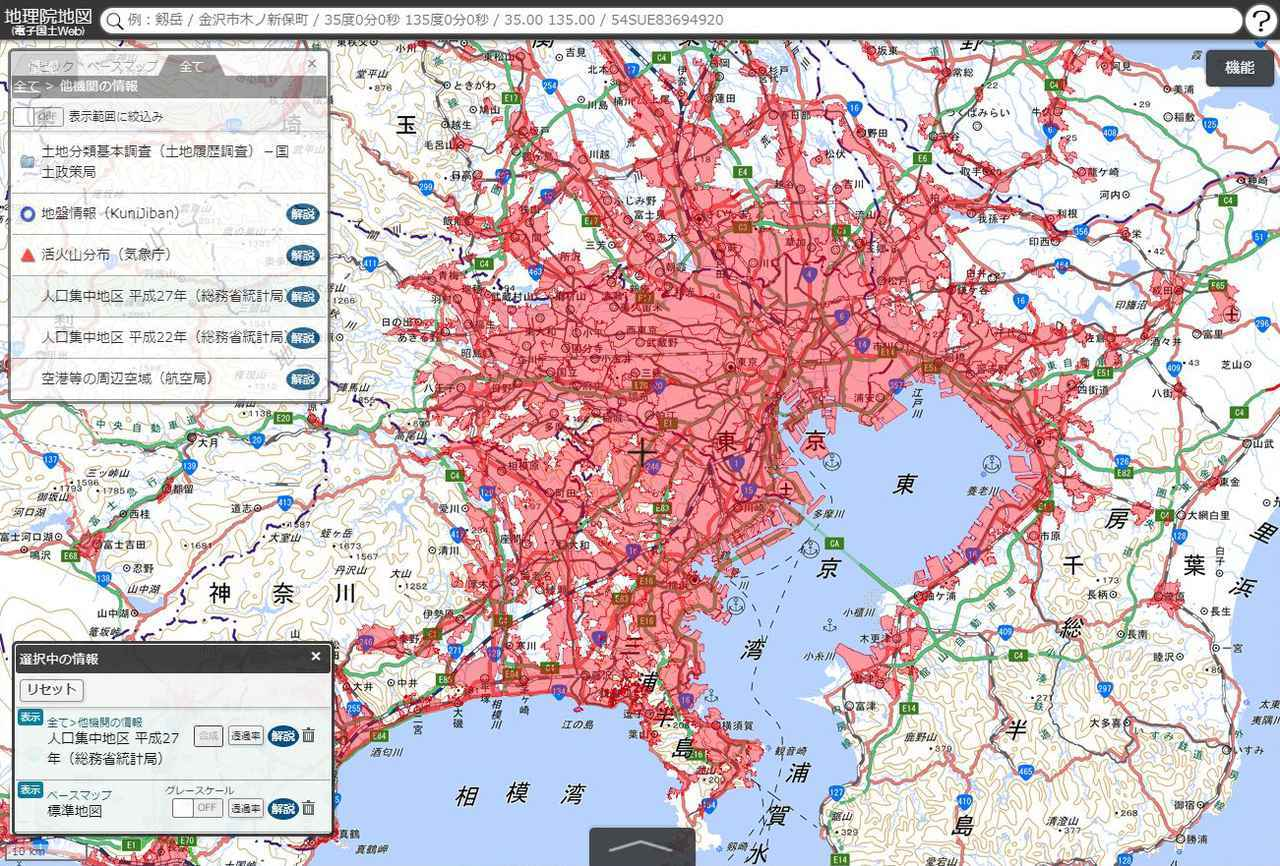 画像: 人口集中地区がわかる国土地理院の地理院地図。
