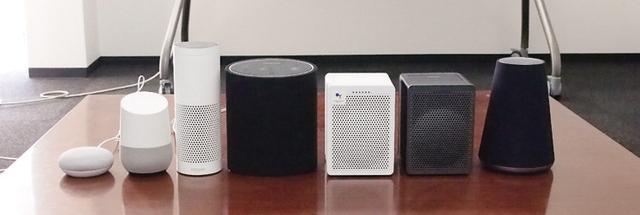 画像: Google HomeやAmazon Echo、Clova WAVEなど、各社のスマートスピーカーと音を比較。P3(左から4番め)は迫力のあるサウンド、G3(右から2番めと3番め)は、明瞭でクリアなサウンドを聴かせる。