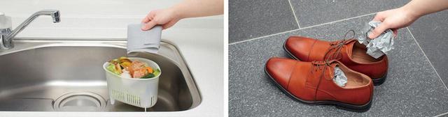 画像: キッチンの三角コーナーに被せる(写真左)、丸めて靴に入れる(右)など、自由に使えるのが魅力。使用後は、ゴミと一緒に捨てればOK。