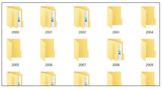画像: フォルダーが増えてきたら、年別のフォルダーを作り、そこにフォルダーをまとめていく。その中に月別のフォルダーも作ると便利。