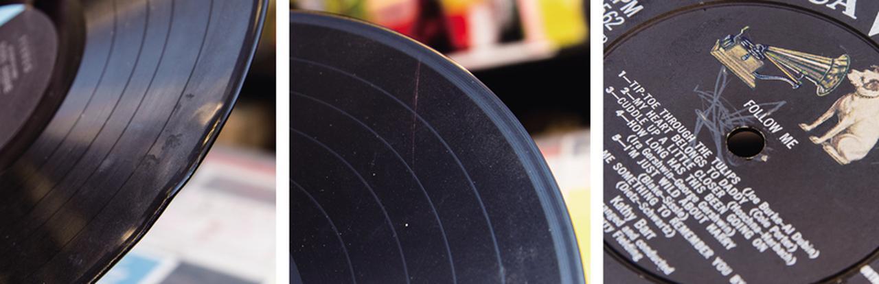 """画像: 目に見えて盤が歪んでいるヒートダメージ(写真左)、明らかにノイズになりそうな大きな傷と溝に付着したホコリ(写真中)、センターホール付近の""""ヒゲ""""(写真右)。アナログメディアゆえに物理的なダメージを受けやすいレコードは、取り扱いにも注意しよう。"""