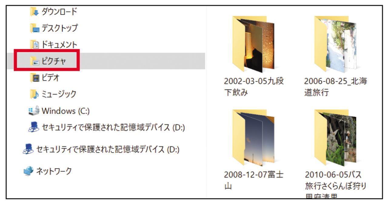 画像: 写真は、「ピクチャ」フォルダーに集める。サブフォルダーは「2006-08-25_北海道旅行」というように年月日とキーワードで作成。