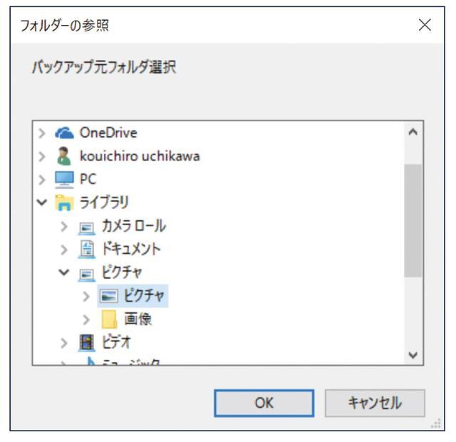 画像: バックアップの保存元は、当然「ピクチャ」フォルダー。サブフォルダーすべてがバックアップの対象となる。