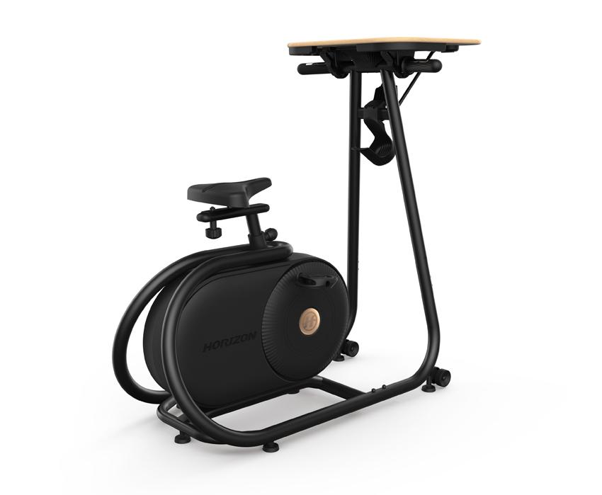 画像: 折り畳める落ち着いた木目調のデスクトレーが搭載されたエアロバイク。ステップスルー構造で乗り降りが簡単。シートが上下、前後に調整できるので、体型に関係なく使える。
