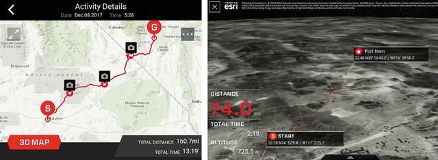 画像: スマホアプリ「G-SHOCK Connected」と連係すれば、記録したルートを見やすい地図で確認できる。地図は2Dと3Dの切り替え表示が可能。