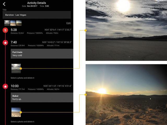 画像: 通過ポイントを記録すると、その情報をタイムラインで表示。GPSナビゲーション機能の作動中にスマホで撮影した写真も、自動でタイムラインに追加される。