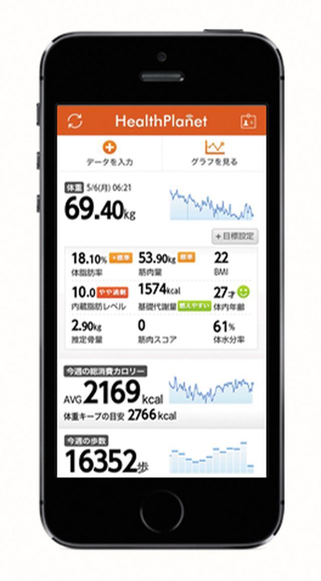 画像: 健康管理アプリとして「ヘルスプラネット」を提供。体脂肪率や筋肉量なども判定可能だ。