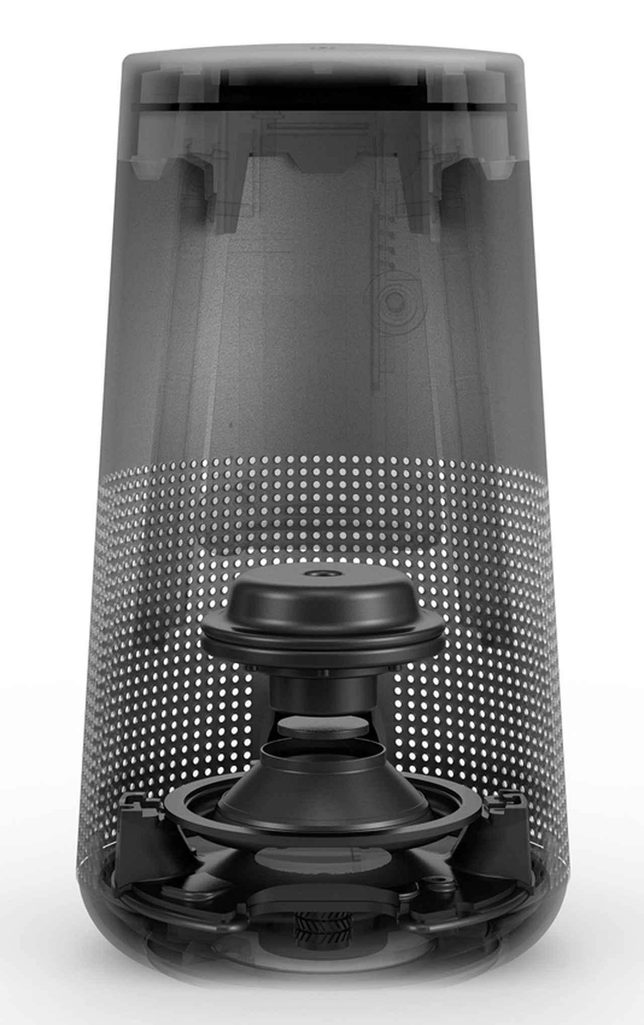 画像: 下向きにセットされたフルレンジユニットから360度方向に音を放射。