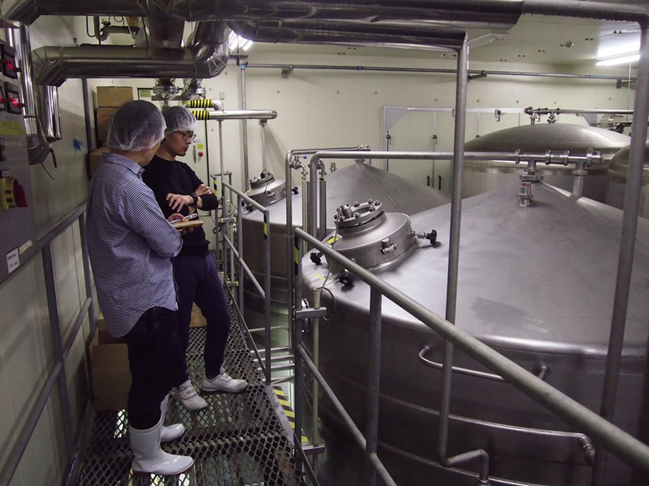 画像: 麦汁やホップの香り漂う製造ラインを見学。ここは麦汁に酵母を加えて上面発酵を行うタンクが並ぶ。銘柄によっては、この段階でもホップが加えられる。