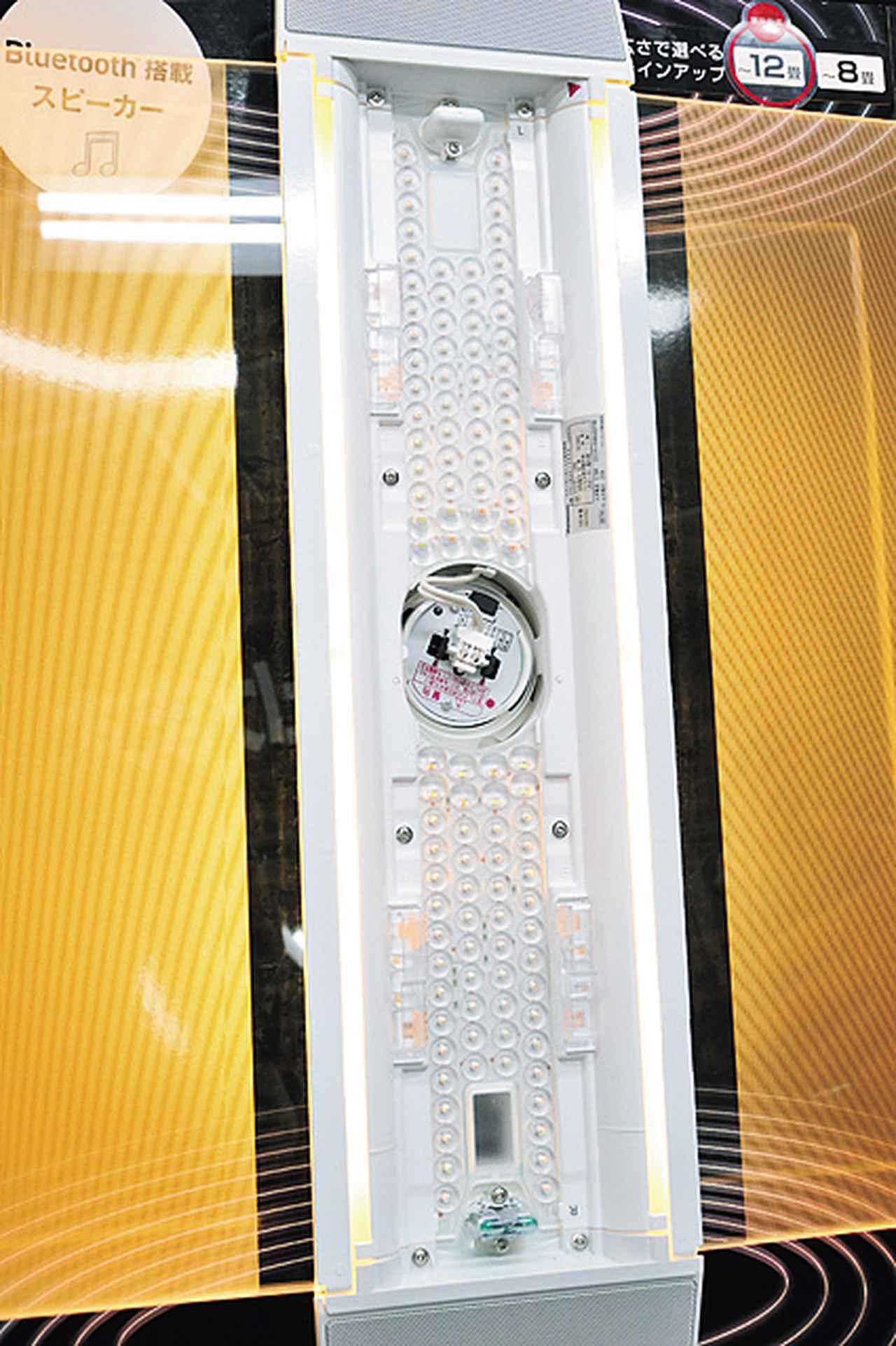 画像: センターのLED光は下方向に、パネル光は上下左右に拡散される。