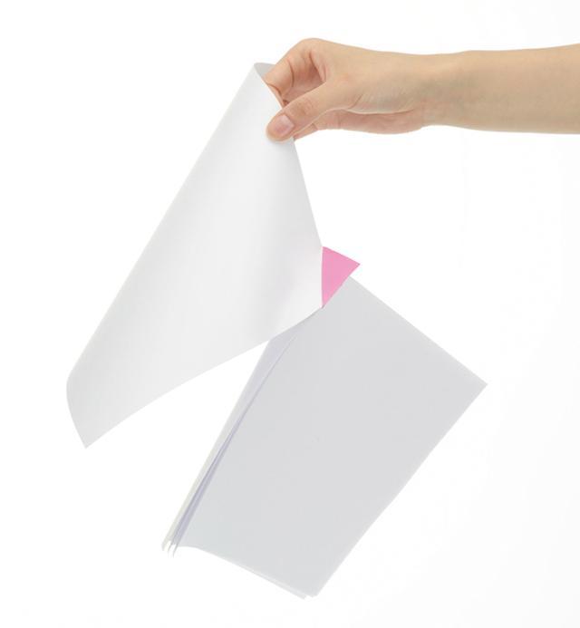 画像: 角を折ってしっかりととめるので、書類がバラける心配はない。