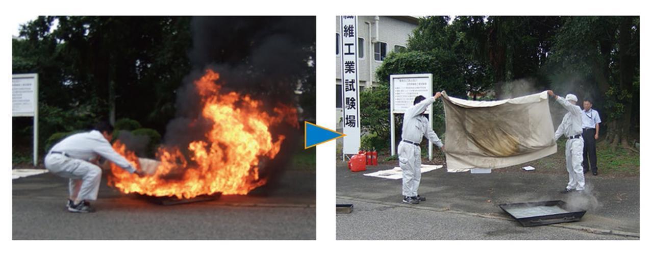 画像: 火にかぶせて消化もできるし、カーテンを頭からすっぽりとかぶって避難するという使い方もできる。
