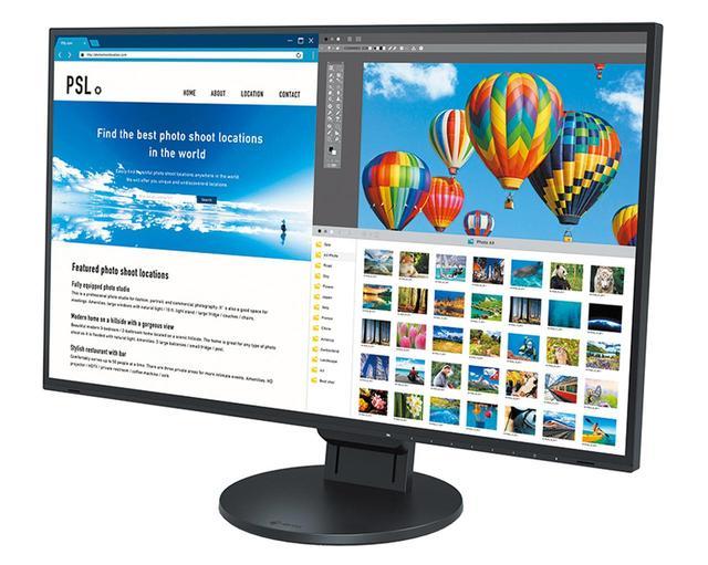画像: 映像入力端子にUSB Type-Cを採用した27型モデル。接続側のノートパソコンにはUSB Type-Cケーブル経由で給電できるので、バッテリー残量を気にせずパソコン作業を行える。