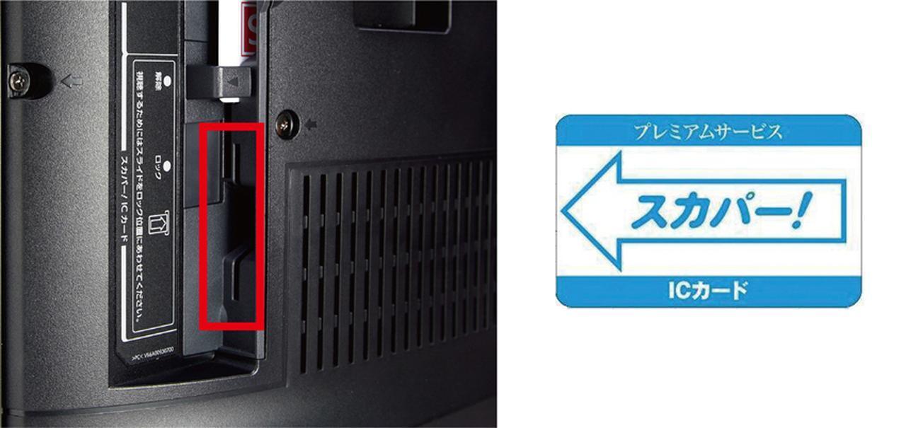 画像: スカパー!用のスロットにICカードをセットする。ICカードは加入契約を行うと、郵送されてくる。