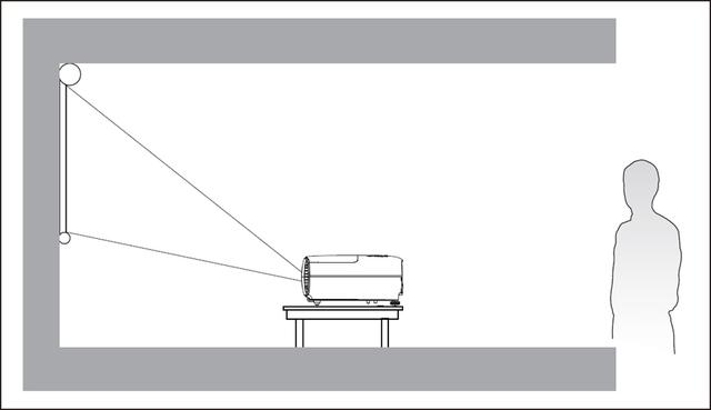 画像: 基本的な設置方法は、「スクリーンの手前かつ下方に置く」というもの。視聴する人は、本機の後ろに陣取ることになる。わが家では、この設置方法を実行するのがとても難しい(涙)。
