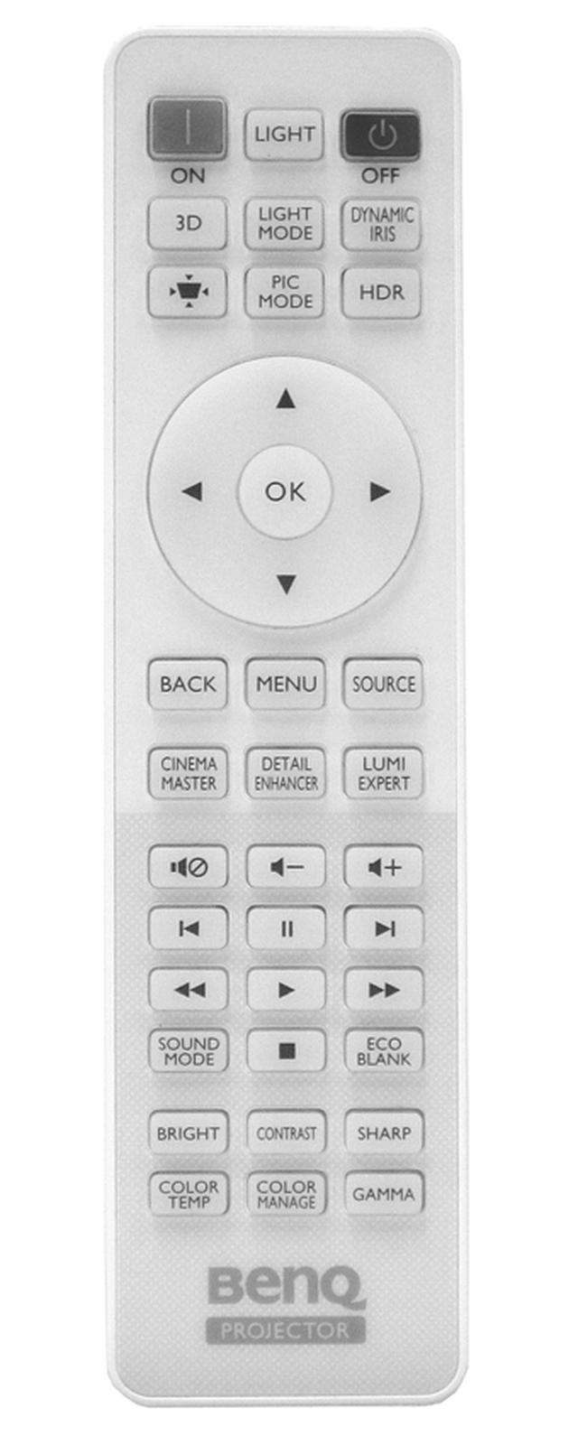 画像: 付属リモコン。本体内蔵スピーカーの音量調節ボタンもあるが、十字キーでも音量を変えられるのがうれしい。