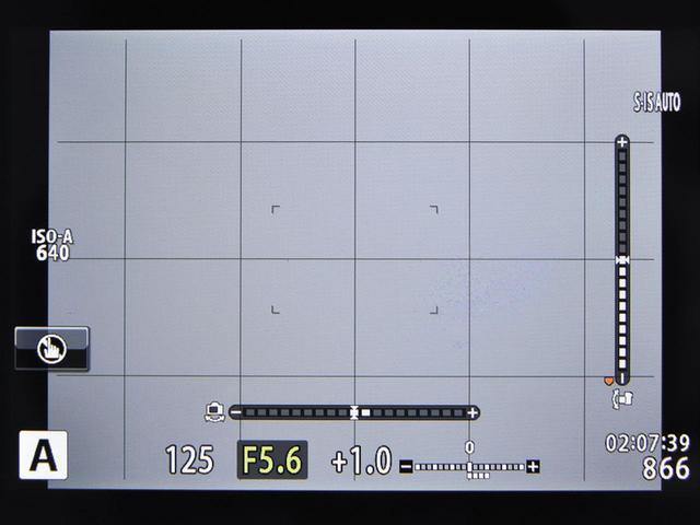 画像: 多くのカメラでは、画面表示の設定により、ファインダーやモニター上に格子線の表示が可能。水準器の表示が可能なカメラもある。