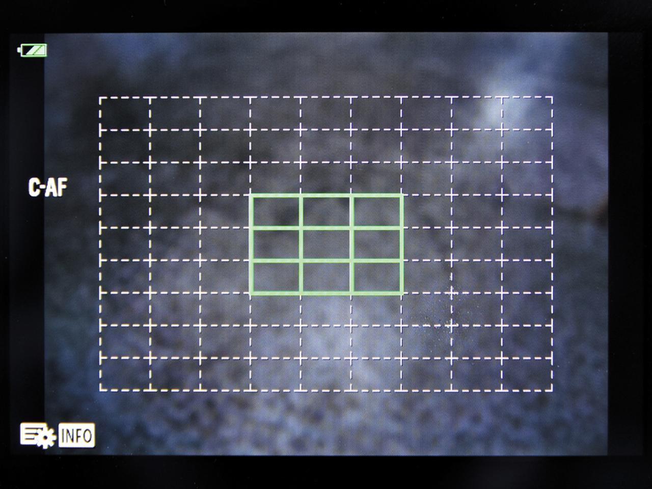 画像: カメラによっては、任意選択のAFエリアを1点ではなく複数点に設定できる場合もある。この画面は、オリンパス・PEN-Fの「グループターゲット」。