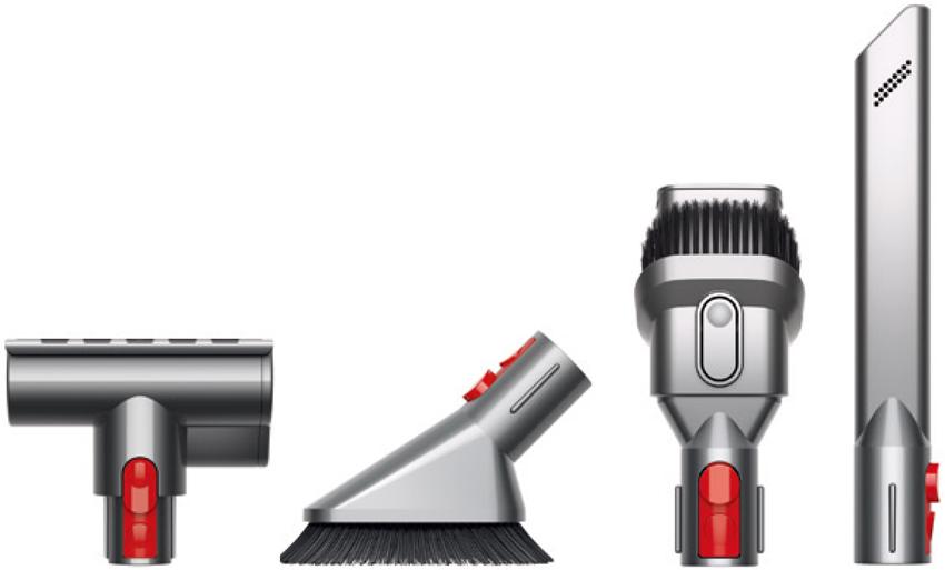 画像: ミニモーターヘッド、ミニソフトブラシ、コンビネーションノズル、 すき間ノズルを同梱。