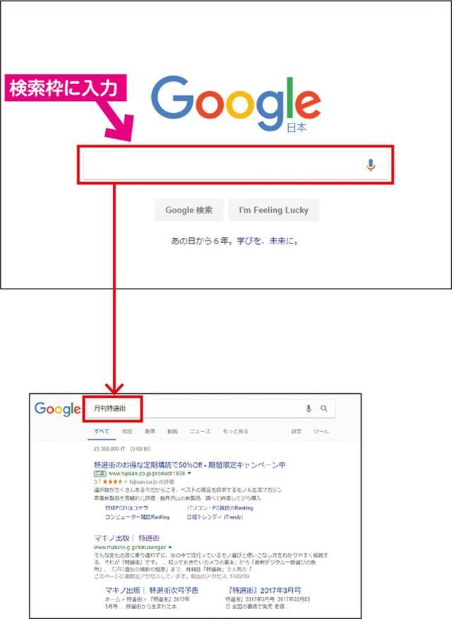 画像: (上)Google検索のメイン画面。赤枠の検索窓に、キーワードを入力する。 (下)こちらは「月刊特選街」という語を入力して検索した結果。