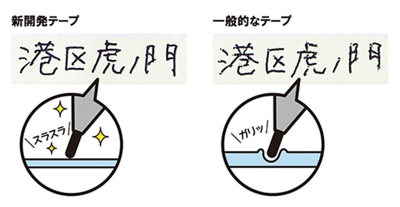 画像: 一般的なテープは、ペン先が食い込んだりして再筆記しづらいが、新開発テープは、ペン先が引っかからないので書きやすい。