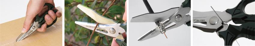 画像: 段ボール箱の開梱、小枝の剪定、ケーブルの切断、針金のカットなど、屋内・屋外のさまざまな用途に利用できる。ブレード(刃)部分は、サビに強い特殊ステンレス製。全長は意外に短く、160ミリと小型だ。