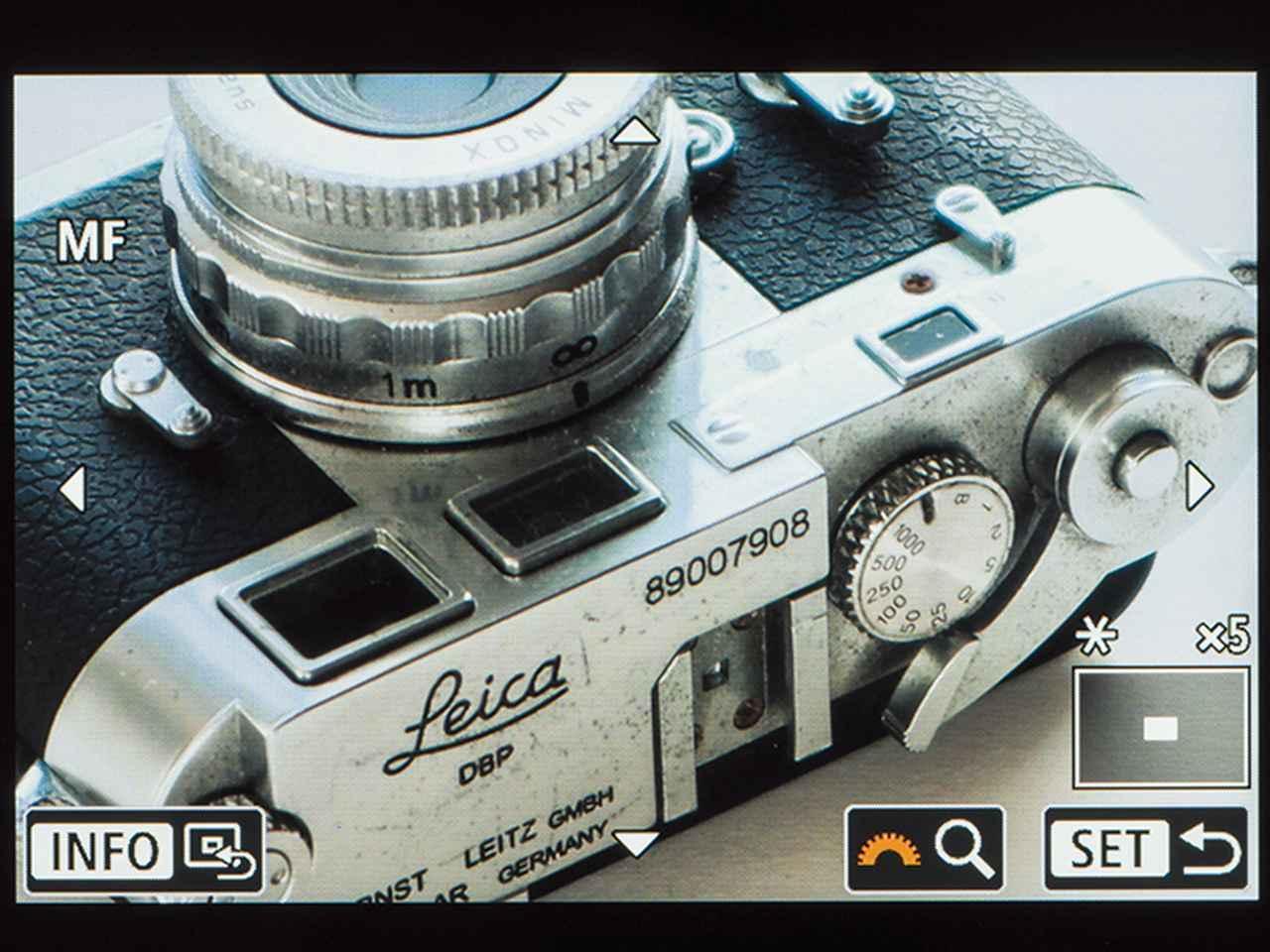 画像: ライブビュー撮影では、画面の拡大表示が可能なので、マニュアルでのピント合わせも楽に行うことができる。