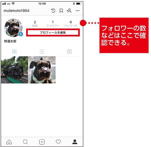 画像: 自分が投稿した写真の一覧が表示され、フォロワーの数などもわかる。「プロフィールを編集」をタップすると、名前の変更などができる。