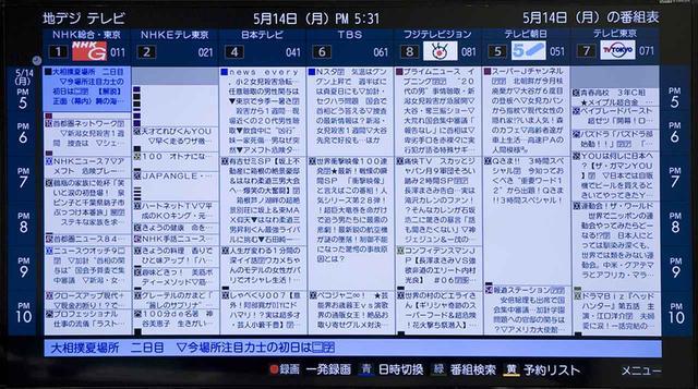 画像: 番組表は、東芝・レグザシリーズのものに似ている。ミニ表示も可。