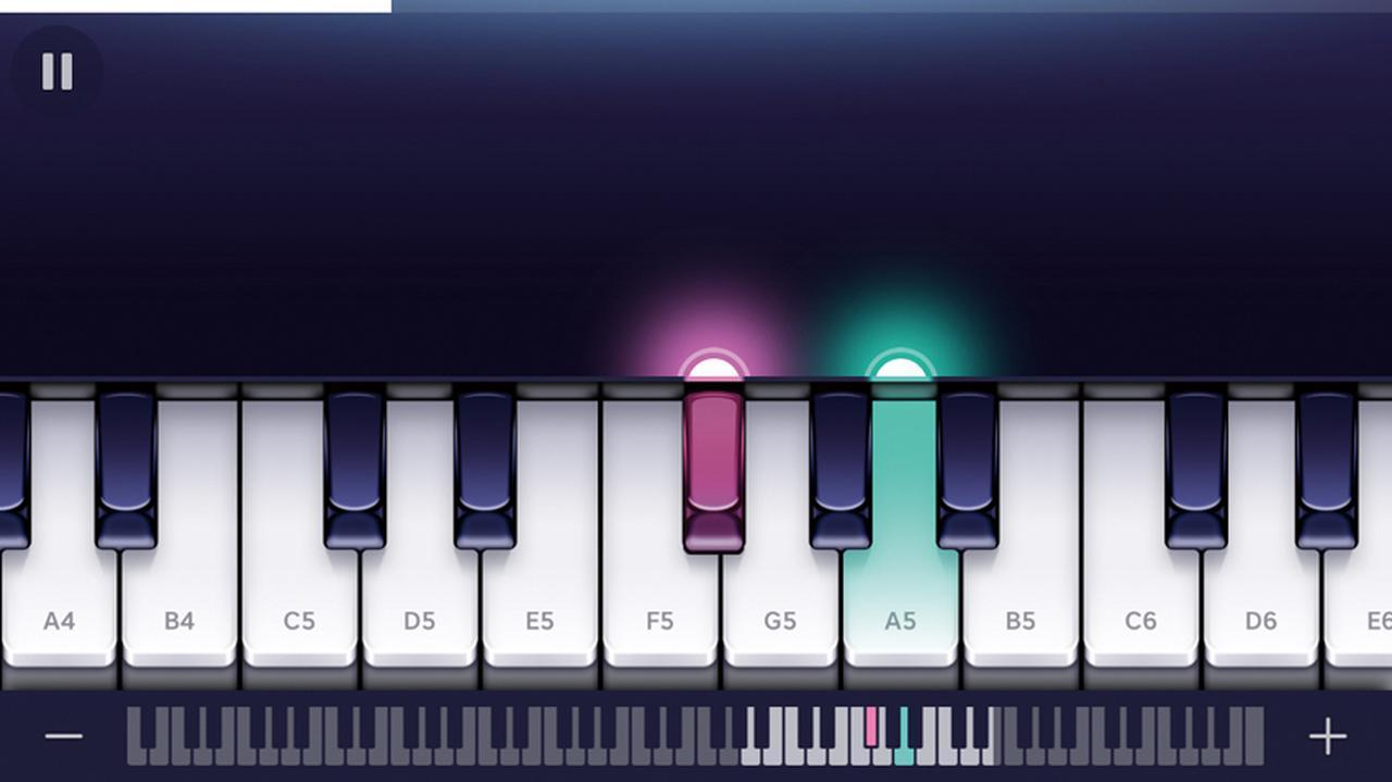 画像: 画面の指示に従って鍵盤をタップするだけで演奏できる。