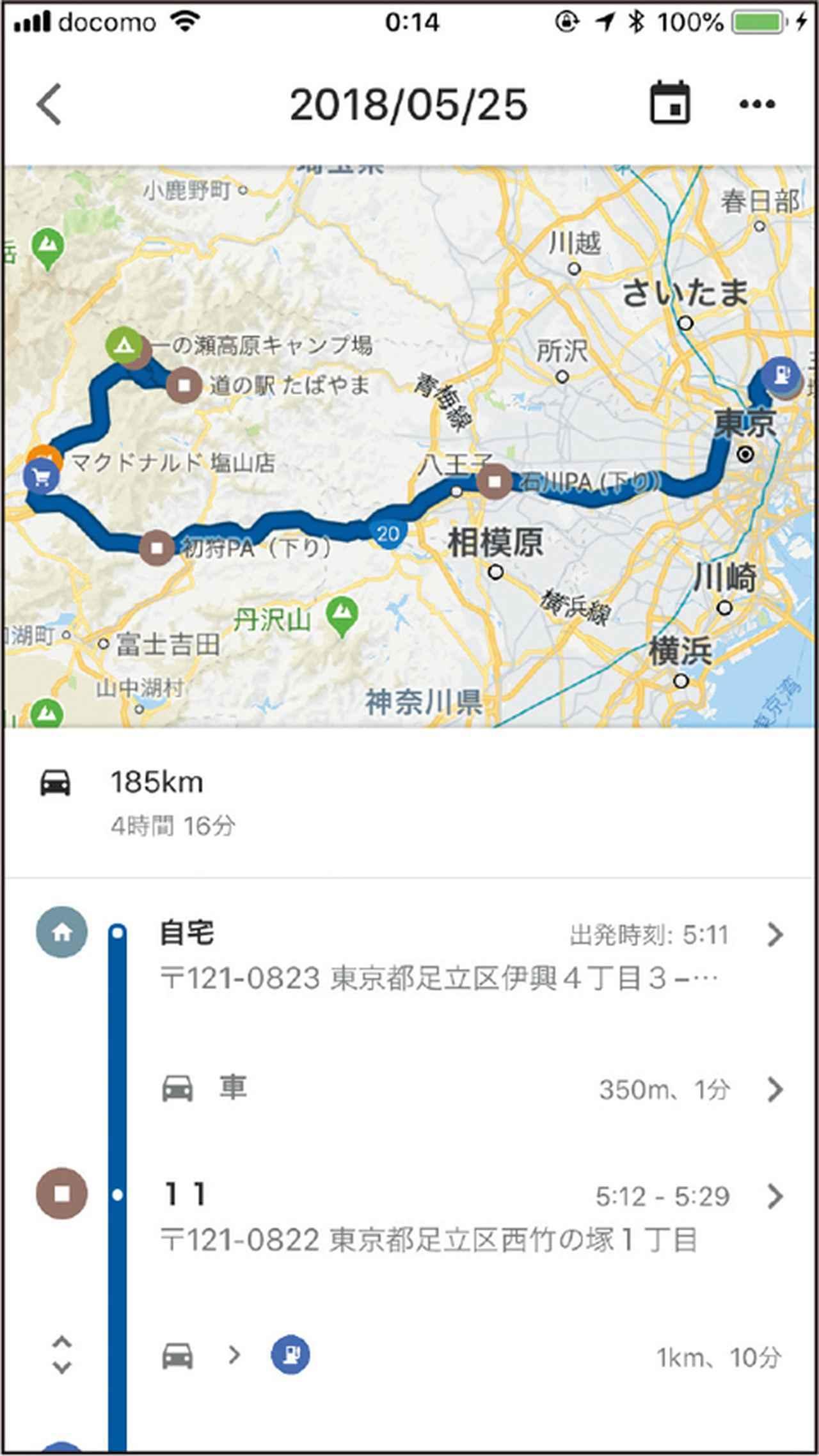 画像: 画面の上半分を占める地図上に、指定日の移動ルートが青線で示される。