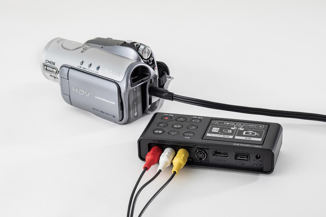 画像: ビデオカメラ付属のAVケーブルをキャプチャー機器に接続。SDカードも挿入しておく。