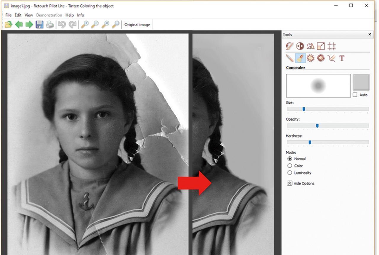 画像: 破れた部分があっても、シンプルな背景であれば、「Concealer」というツールできれいに修復できる。