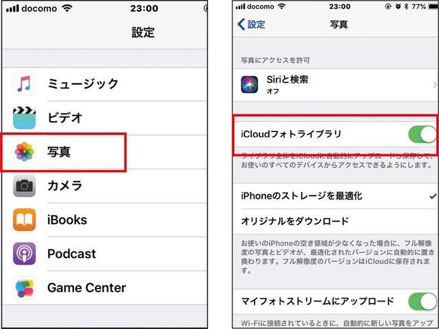 画像: iPhoneの設定で「写真」を選ぶ(左)。「iCloudフォトライブラリ」をオンにすれば、自動的にクラウド転送が行われる(右)。容量が足りなければ有料で増やすことができる。