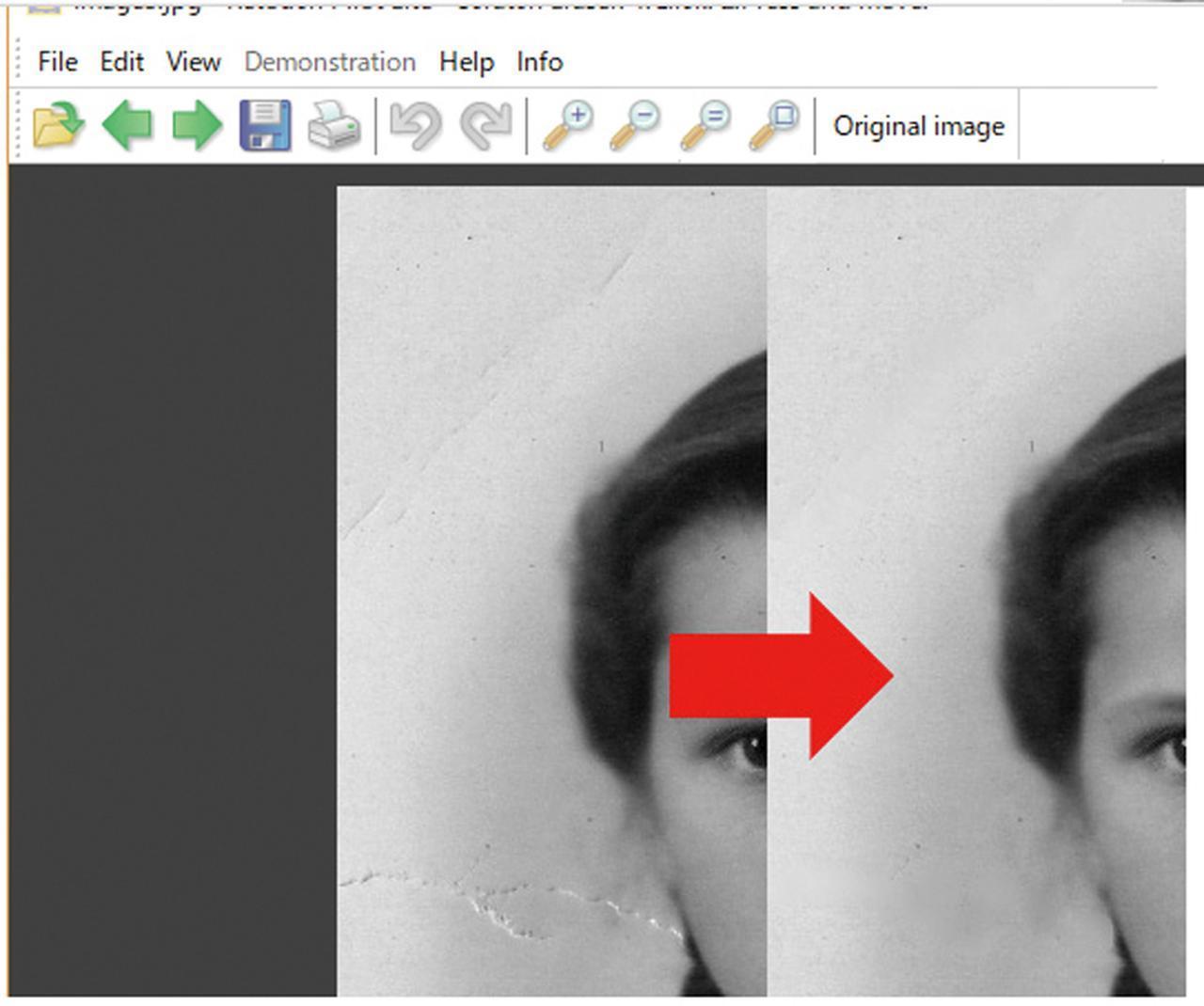 画像: 写真表面にある引っかいたような傷は、「Scratch Eraser」というツールでぼかして修復できる。