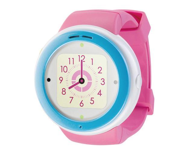 画像: 腕時計型にもペンダント型にもなる、子供用端末。盤面はタッチパネル付きカラー液晶になっており、タップにより各種操作ができる。