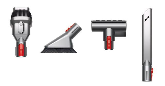 画像: 標準のソフトローラークリーナーヘッド以外に、左からコンビネーションノズル、ミニソフトブラシ、ミニモーターヘッド、すき間ノズルが付属。 狭い場所なども一台で掃除できる。