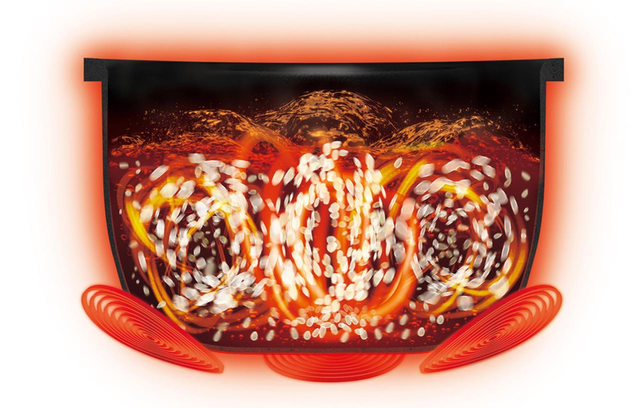 画像: IHヒーターを三つ搭載し、順番に加熱することで、かまどの炎のような揺らぎを作り出す。従来の4倍以上の大火力で釜内の米を大きくかき混ぜて、甘みを引き出して炊く。