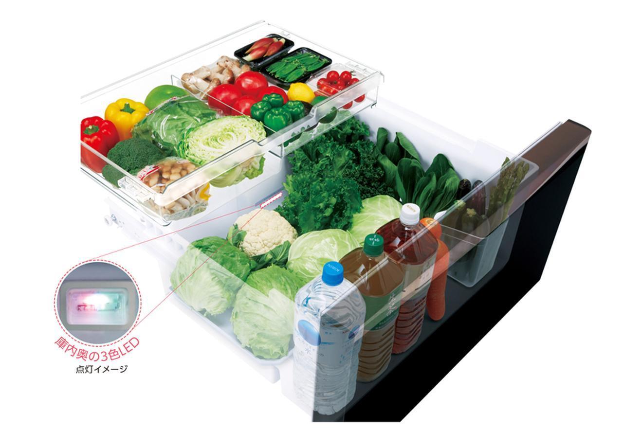 画像: よく使う野菜室を真ん中に配置し、野菜の出し入れがしやすい。3色のLEDを庫内に照射することで葉物野菜の光合成を促進し、ビタミンCなどが増える機能も備える。