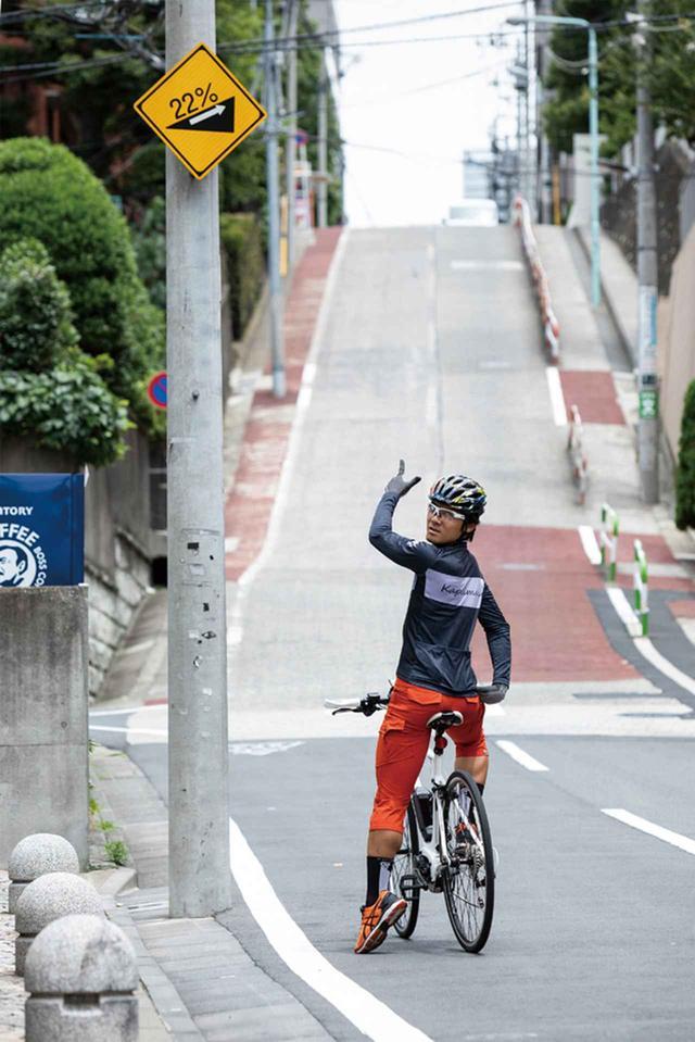 画像: 7モデルのインプレッションは、東京都内屈指の激坂で知られる「のぞき坂」(東京都豊島区高田2丁目付近)を含めた周回コースで実施。最大勾配22%、全長150メートルの坂道は、電動アシストの能力を測るにはもってこいのシチュエーションだ。