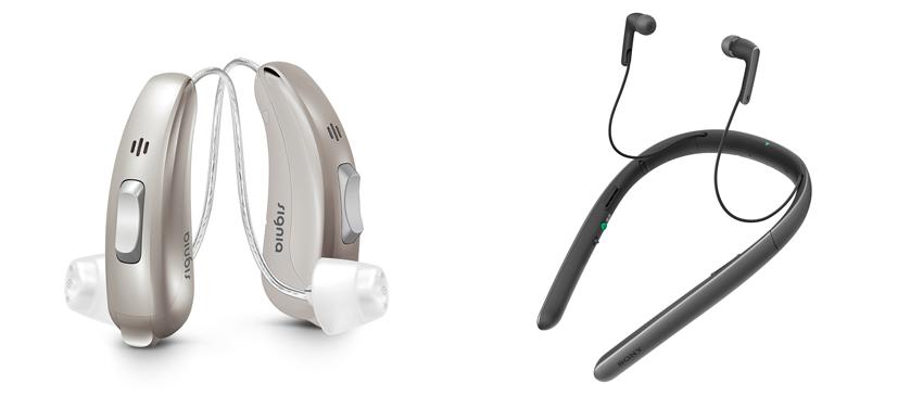 画像: 左が補聴器で右が集音器。使用者の聴力に合わせて調整する機能を持つことが補聴器の大きな特徴。集音器は、テレビの音が聞き取りにくいなど、特定の用途で使用する機器だ。